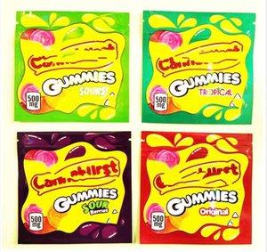 2021 Boş 4 Türleri 500mg Cannaburst Yenilebilir Ambalaj Çantası Şeker GummMies Koku Geçirmez Kitaplar Mylar Çanta