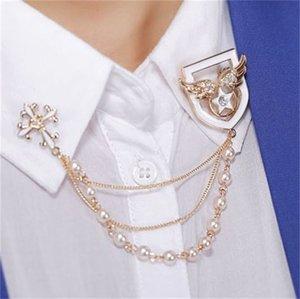 Stile coreano perla nappa catena pin spilla Badge Cross Corsage Medaglia Spilla Angelo Ala Star Brooches 141 R2