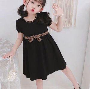 Luxury Baby girls dress kids letter F bowknot Summer short sleeve children casual designer clothing,size 100-140cm