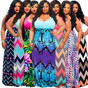 Artı Boyutu Elbiseler Moda Çiçek Baskılı Günlük Elbiseler Çizgili Dalga Yaz Elbiseler Moda Lady Kadınlar Için Marka Kolsuz Elbise