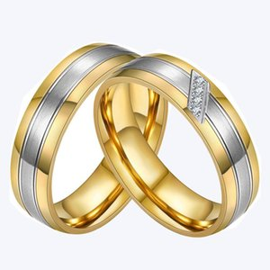 Couples rings for men &women him &her AAA zircon diamonds gold tone titanium stainless steel wedding engagement ring set jewelry