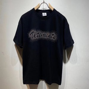 Hip Hop Oversize Veturements in cotone manica corta Tees Men Donne Donne 1: 1 Migliore Qualità Ricamo Argento Rivetti Vetements T Shirt C0325