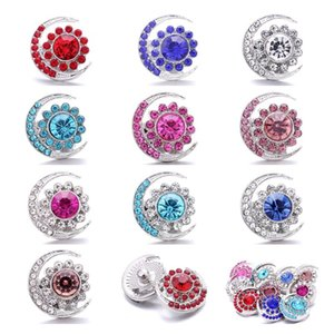 Wholesale Rhinestone Moon Sun 18mm Snap Button Clasp Metal charms for Snaps Jewelry Findings suppliers