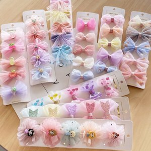 Clips Hairpin5pcs Cute Baby Kids Mesh Yarn Lace Pins with Ribbon Wrap Children Girls Organza Bow Hair Accessories