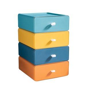 Depolama çekmeceleri tipi kontrast renk kutusu ofis masaüstü istifleyebilir dosya çok fonksiyonlu dolap çekmece kutuları boyutu 20 * 21 * 8 cm
