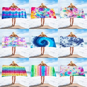 Tie Dye Beach Towel Rectangle 150*75 cm Superfine Fiber Towels Fabric Material Water Absorption Bath Cover for Adult