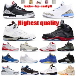 Basketball Shoes Jumpman 5s Ice Blue Joint Day Graffiti 3s Animal Gato Branco Royal North Carolina Jogging Treinamento Fitness Senhoras e Homens Limitados ao ar livre