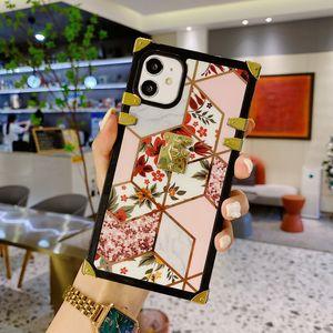 Black Square Design Phone Cases Plating Corner Cover For Iphone 13 12 mini 11 pro max XR X 8 7 6 Plus