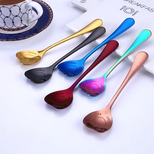 Colorful love heart shaped spoon coffee tea stir spoons for party wedding supplies kitchen accessories