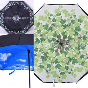 latest high quality and low price windproof folding double-layer inverted anti-umbrella self-reversing rainproof C-type hook OK 287 R2