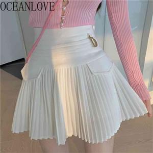 Pleated Skirts Solid A-line High Waist Sweet Spring Summer Mujer Faldas Retro Sexy Korean Fashion Woman 210423