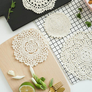Mats & Pads Lace Handmade Doily Round Cotton Table Place Mat Dining Pad Cloth Crochet Placemat Cup Mug Tablecloth Tea
