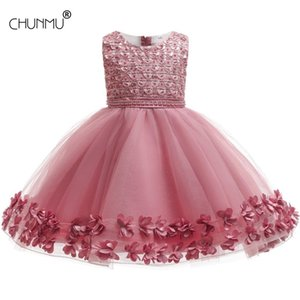 Beads Flower Baby Girls Princess Dress Elegant Party Lace Tutu For Birthday Wedding Kids Children Clothing 210508