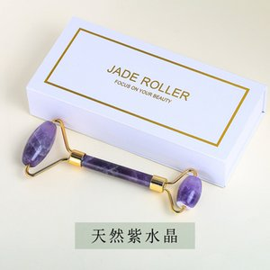1 Boxed Natural Jade Stone Massage Roller Pink Quartz Amethyst Face-lifting Massage Tool Jewelry Gifts 405 Q2