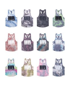 21 Styles Mens T Shirts Sports Vest Tie Dye Summer Fashion Bodybuilding Fitness Muscles Letters Print Sleeveless Clothes Training Wear M-XXXL