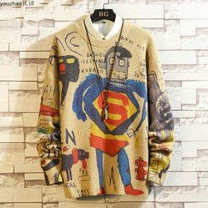Tee 2021 NUEVO Dibujos animados de impresión suéter de punto Men Jersey Casual Shirt Youzhao otoño e invierno