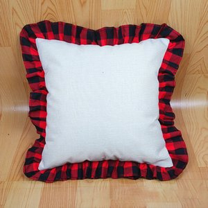 45*45cm Blank Sublimation Pillows Case DIY Thermal Linen Cushion Throw Pillow Covers Tartan Plaid Lace Pillowcases Home Decoration M3666