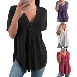 Massivfarben-T-Shirt-Tunika 5XL plus Größe Vetement Femme 2021 Tief-V-Ausschnitt Shirred Top-gefristertes lässig-Frauen T-shirts Nettes Frauen-T-Shirt