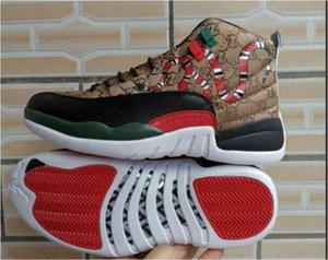 جودة عالية Jumpman XII الرجال Chaussures 12 GS جيل من الأفعى النمر الأسود البني الأحمر رجالي أحذية
