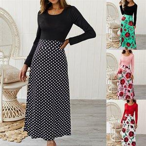 20s s floral gedruckt womens dress langarm patchwork farbe dot damen kleider casual schlank designer weibliche kleid