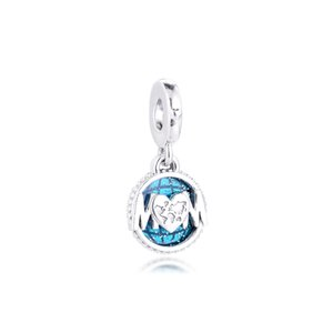 Sterling Silver Charms Mother's Day Glitter Globe Mum Dangle Charm 2021 Fashion Female Beads For Jewelry Making Fits Original Bracelets