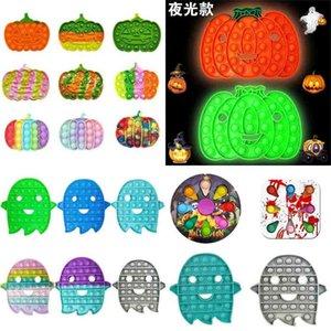Halloween Push Pop Fidget Toys CARTOON Ghost Pumpkin Glow in the Dark Sensory Bubbles Popper Board Game Finger Puzzle Stress Relief Xmas party Gift Decor G96JARV
