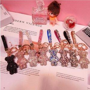 Diamond Bear Charm Car KeyChain Bag Pendant Blingbling Key Chains Ladies High-end Grab Machine Boutique Gift Doll 8 Colors