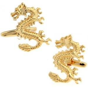 Cuff Link And Tie Clip Sets Animal Series Cufflinks Trendy Men's Accessories Gifts Casual Vintage High-quality French Shirt Golden Dragon Li
