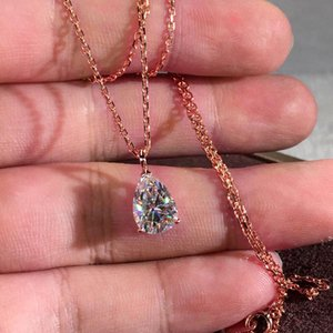 Pendentif Colliers Rose Gold Argent Couleur Chaîne Collier Poire Coupée Blanc Zircon Prestige Cristal Eau Drop Stone pour femmes