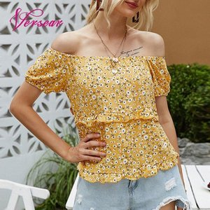 Versear Women Summer Holiday Blouse Tops Shorts Sleeve Off the Shoulder Casual Blouses 2020 New Fashion Ruffle Slash Neck Tops P5eG#