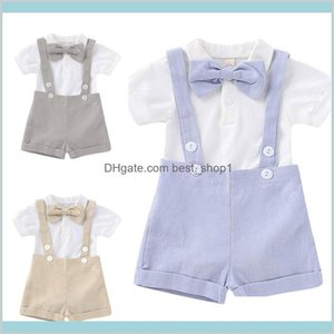 Baby Boy Bow Short Sleeve Tops Shorts Little Gentleman Outfits Born Bowtie + T-Shirt Romper + Strap Shorts Set Qfbub Ytzi3