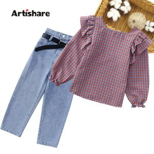 Girls Cltohes Set Plaid Blouse + Jeans Clothes For Casual Kids 2021 Autumn Childrens Clothing 6 8 10 12 14 Sets