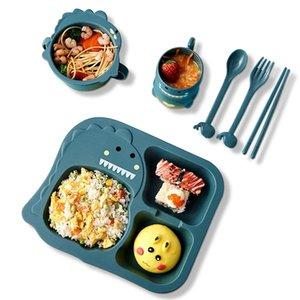 6pcs / set baby boward tazza tazza tazza tazza piastra cucchiaio forcella + bacchette simpatico cartone animato fibra di bambù per bambini utensili anti-caldi 210317