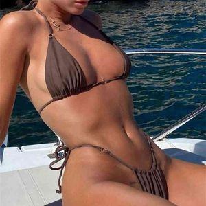 Yiiciovy sexy bikini bikini traje de baño mujeres verano halter de encaje hacia arriba empuje hacia arriba sujetador acolchado micro bikini conjunto de dos piezas conjunto de ropa de playa 210324