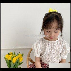 Summer Korean Girls Hollow Out Shirt Girl Cotton Round Neck Puff Tops Kids Toddler Baby Short Blouse Y200704 Zeyz Xitd4