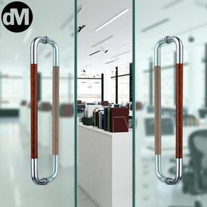 Handles & Pulls DM 2pcs Set Modern Simple Red Tube Thickened Glass Door Handle Stainless Steel Gate Hand-Style Shop Movie KTV El