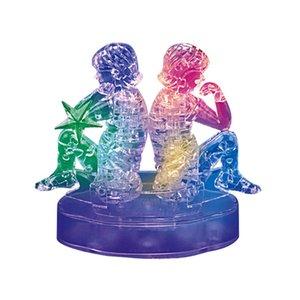 3D Crystal Puzzle Jigsaw четкие двенадцать 12 созвездие астрологов вспышка светодиодный свет игрушки статуэтка творческий DIY Jigsaw Rompecabe # 5 Q0313