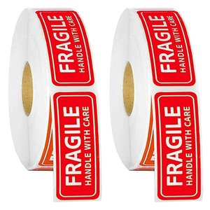Wall Stickers 2 Roll 1inchX 3inch Labels Fragile Sticker Red Warning Label For Packaging