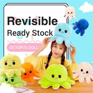 DHL Cute Animal Reversible Flip Octopus Stuffed Plush Doll Soft Reversible Plush Toys Color Chapter Plush Doll Child Toys 26 Colors 1w