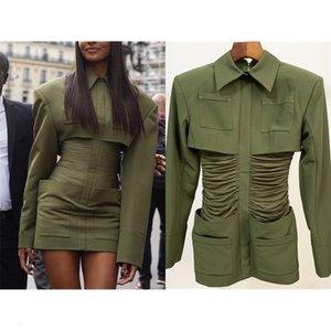 European and American latest star explosion models Slim thick shoulder shirt collar bag hip evening dress