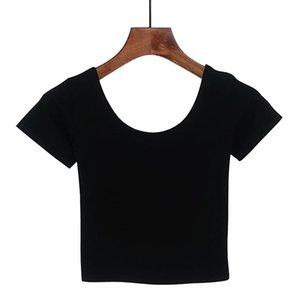 Frauen T-Shirt 2021 Sommer Frauen T-shirt Kurzarm O-Neck Casual Baumwolle Schwarz Weiß Rot Gelb Tops T-Shirts Weibliche Damen Crop Top