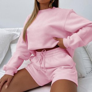 Women's Tracksuits Cutubly Two 2 Piece Short Outfits Girls Solid Fashion Winter Women Sets Tracksuit Warm Shorts And Long Sleeve Shirt Set L