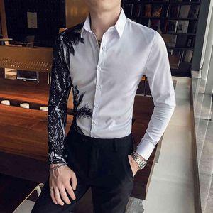 Футболки Chemise Blanche Homme Primavera 2021 Мода с длинным рукавом напечатана для мужской одежды Простой прекрасный клуб Tuxedo 3XL 6ek6