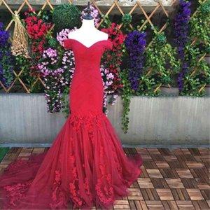 Barato praia vestido de noiva vestidos com rendas at trs venda quente sexy tule vermelho trompete sereia casamento