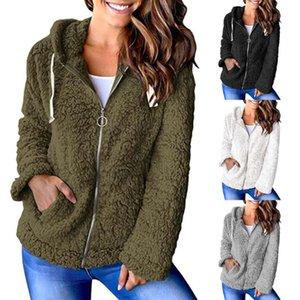Womens Plush Jacket Zip Up Hooded Long Sleeve Jacket Zip Up Hooded Chunky Pockets Coat Tops Lady Hoodies outwear