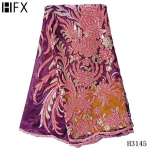 Ribbon HFX Velvet Lace Fabric Embroidered African Sequins 2021 Latest Nigerian French Tulle For Wedding F3145