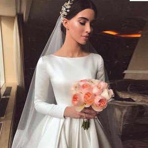بسيط خمر الأبيض العاج ألف خط فساتين الزفاف طويلة الأكمام الملكي الحرير العباءات الزفاف القلعة حديقة مخصص