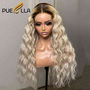 Ombre Deep Wave WIg Platinum Blonde Hu Hair s Brazilian Transparent Frontal 13x6 Lace Front Wig
