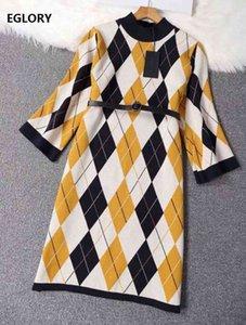 Платья Новый модный свитер осень зима трикотаж женские геометрические узоры ремень деко случайные шерстяные хлопковые вязаные