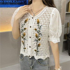 Women's Blouses & Shirts 2021 Summer Vintage Lace Crochet Short Sleeve Women V Neck Single-Breasted Blouse Cardigan Tops